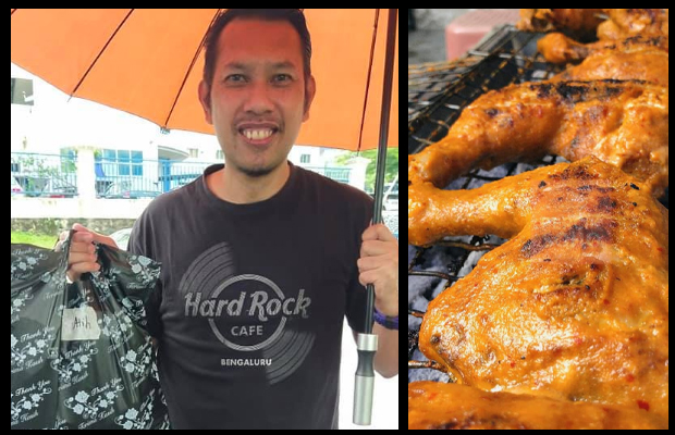 Roslin Hashim delivers roast chicken to his customers. (photo: Roslin Hashim's Facebook - https://www.facebook.com/abe.lin.98)