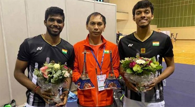 Flandy Limpele (middle) was instrumental in helping Satwiksairaj Rankireddy and Chirag Shetty of India rise to prominence in the 2019 season. (photo: Limpele's Facebook)