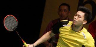 Misbun Ramdan plays in the Maybank Malaysian Open qualifiers as his dad Misbun Sidek looks on from the coach's seat.