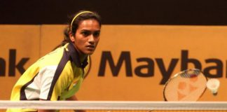 P.V. Sindhu in action against Indonesian Fanetri Lindawani during the first round of the Maybank Malaysian Open on Jan 15, 2014. She won 21-17, 21-18
