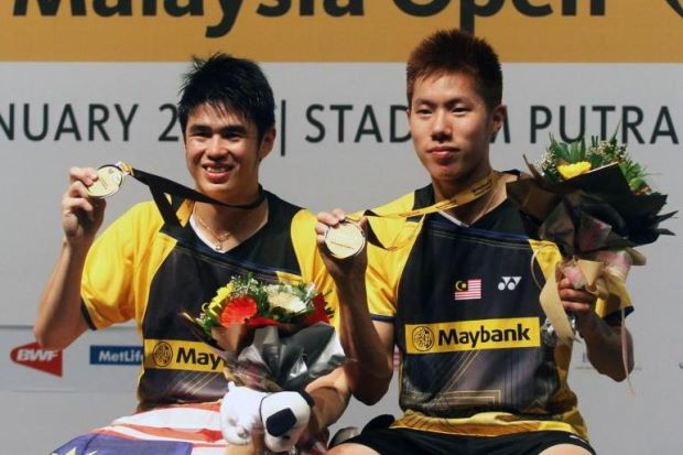 Lim Khim Wah (left) and Goh V Shem after they won the Malaysian Open on Jan 19, 2014. Khim Wah admits that part of his problem with serving is that nerves tend to get the better of him.
