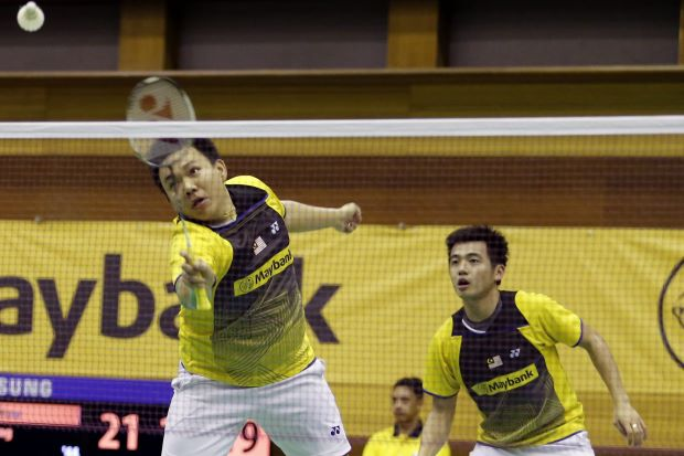 Hoon Thien How and Tan Wee Kiong in a file photo. The pair made it to the German Open semi-finals after beating South Korea's Ko Sung-hyun-Shin Baek-cheol 18-21, 21-16, 22-20.