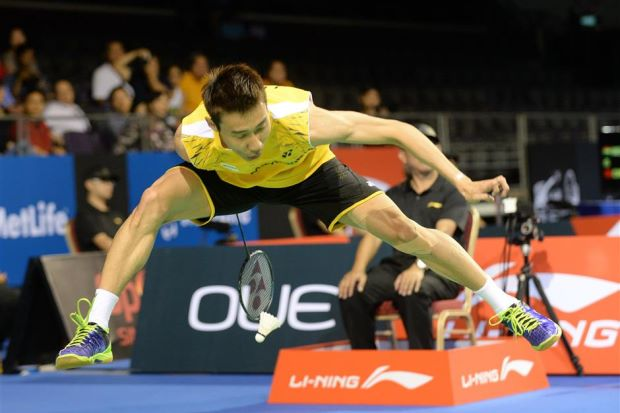 Lee Chong Wei was trying a trick shot from underneath his leg which fell short of the net.