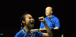 Wang Yihan celebrated her victory with a loud roar!