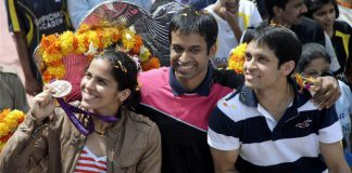 Saina Nehwal (left), and Gopichand (center) and P Kashyap will form a solid Uber-Thomas Cup team.