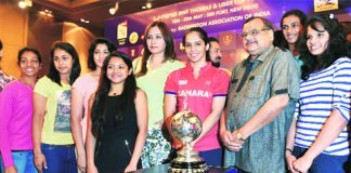 Saina Nehwal and her teammates at the launch of the 2014 Uber Cup on Wednesday.