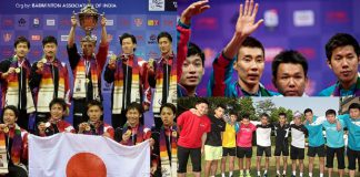 Japan clinched its maiden Thomas Cup badminton title Sunday as it beat Malaysia 3-2 in a hard-fought final (left). Malaysia's Lee Chong Wei during the presentation ceremony after the Thomas Cup badminton championship in New Delhi, India.