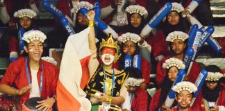 Indonesian badminton fans with their colourful and creative outfits
