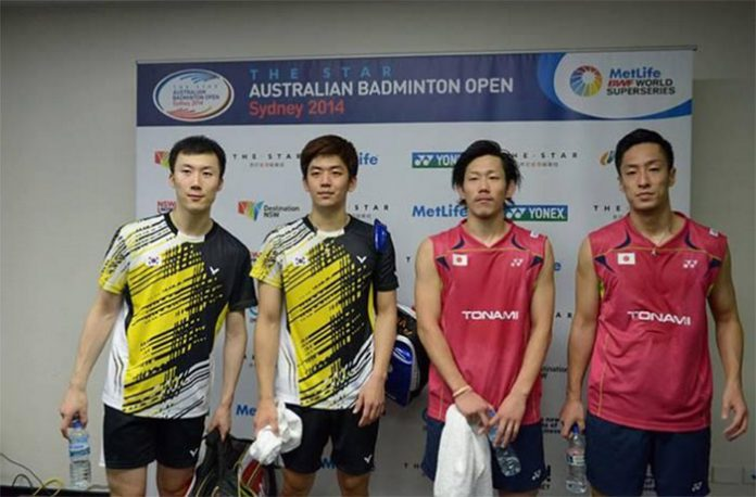 Post match interview: Yoo Yeon Seong-Lee Yong Dae (left) and Hirokatsu Hashimoto-Noriyasu Hirata
