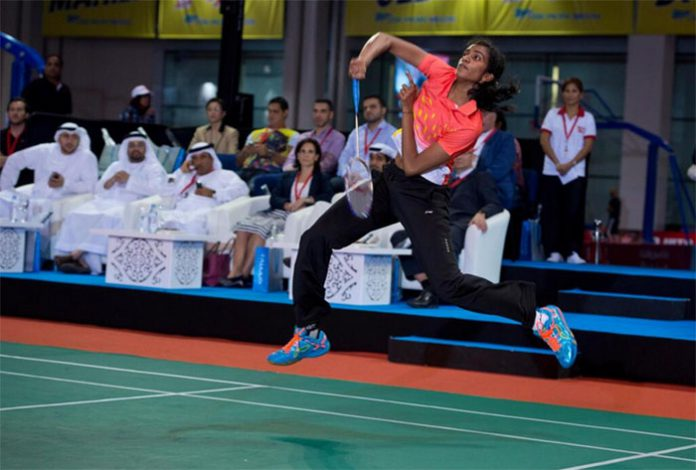 P.V Sindhu is playing at an exhibition game in Dubai