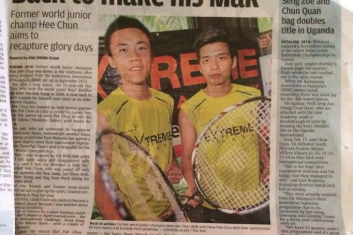 Mak Hee Chun (left) and his doubles partner Chow Pak Chuu hope to revive their career in badminton.