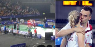 England celebrates after 3-0 win over India (left); Chris kisses wife Gabby after their victory in mixed doubles