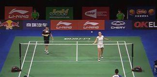 Lai Pei Jing-Tan Aik Guan and Chris Adcock - Gabby Adcock are warming up before the match