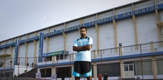 Pullela Gopichand outside his academy in Hyderabad.