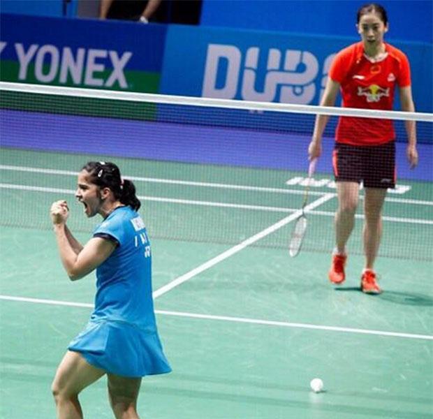 Saina Nehwal celebrates after prevails over Wang Shixian