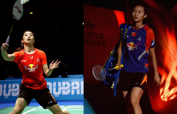 Wang Shixian (left) and Wang Yihan are both eliminated from the Dubai Superseries Finals