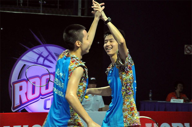 Lim Chi Wing (right) could be promoted to Malaysia's senior squad if he manage to defeat Daren Liew in the men's singles semi-final