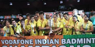 Hyderabad Hotshots team, winners of the Indian Badmintion League 2013, at NSCI in Mumbai