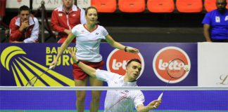 Gabby (back) and Chris Adcock - sweetest couple in the England team (photo: Europe Badminton)