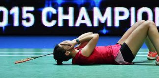 Carolina Marin celebrates after becoming the first Spaniard ever to win an All-England title