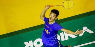 Chen Long of China in action at the Badminton Malaysian Open (photo: EPA)