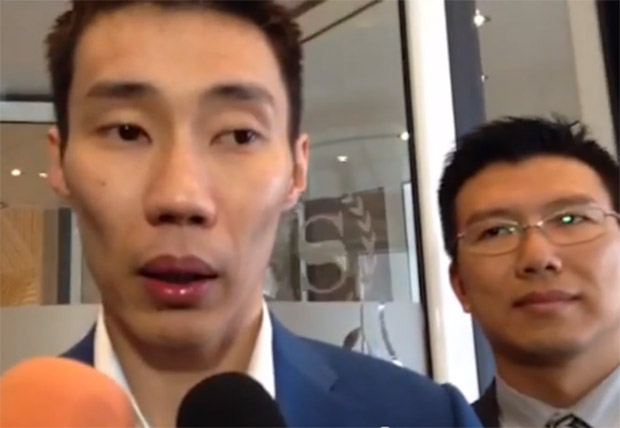 Lee Chong Wei speaks to reporters after the hearing at Amsterdam.