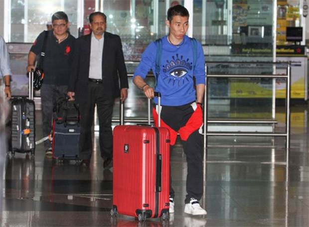 Lee Chong Wei arrives at Kuala Lumpur International Airport after his hearing concludes at Amsterdam last Saturday (Photo: Goh Thean Howe)