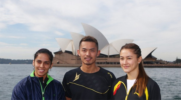 Saina Nehwal of India, Lin Dan of China and Gronya Somerville of Australia (from left) pose in front of the Sydney Opera House (Photo: Fairfax Media).