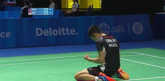 Chong Wei Feng goes down on knee after defeating Jonatan Christie of Indonesia at SEA Games men's singles quarter-finals.