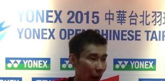 Lee Chong Wei speaks with media after his first match at the 2015 Chinese Taipei Open. (photo: Reuters)