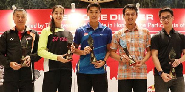 Ratchanok Intanon's coach, Carolina Marin, Jonatan Christie, Mohammad Ahsan, Kevin Sanjaya (from left).