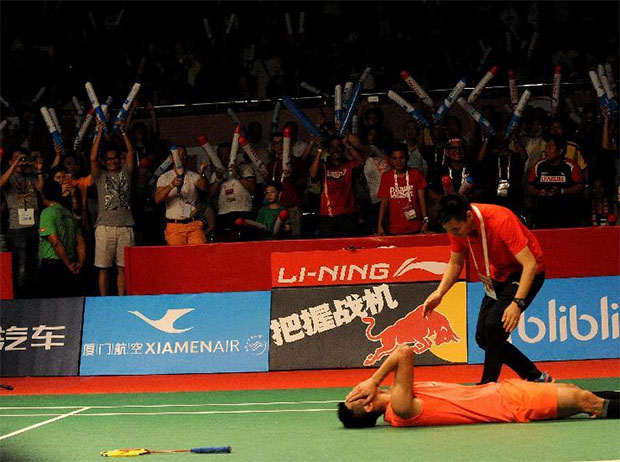 Chen Long was 'crazy with joy' following his World Championships victory. (photo: Reuters)