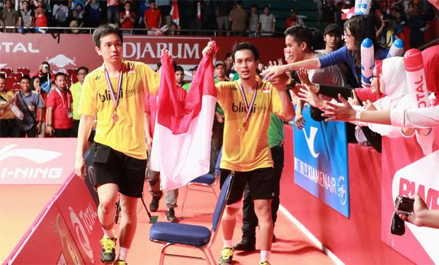 Mohammad Ahsan and Hendra Setiawan win men's doubles title at the 2015 Total BWF World Championship in Jakarta. (photo: PBSI)