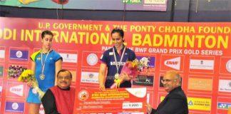 Saina Nehwal beats Carolina Marin to win Syed Modi International Grand Prix Gold Badminton Championship in Lucknow, on Jan 25, 2015. (Photo: IANS)