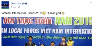 Goh Jin Wei posted a Facebook photo of herself standing on the podium of 2015 Vietnam International Series. (photo: Goh Jin Wei's FB)