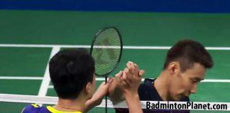 Wei Nan and Lee Chong Wei shake hands following the second round match at Denmark Open.