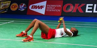 P.V Sindhu lay down on the court after she beats Carolina Marin in semi-finals at Denmark Open.