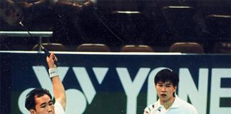 Yap Kim Hock (left) and Cheah Soon Kit at the 1996 Atlanta Olympic Games.