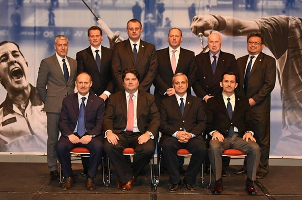 Lawrence Chew (behind, far right) was also elected as Director of Administration from 2015- 2019 for Swiss badminton. (photo: Swiss Badminton)