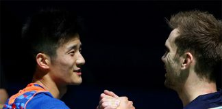 Chen Long shakes hands with Jan O Jorgensen after crushing the world No. 2 in straight sets.