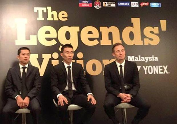 Taufik Hidayat, Lee Chong Wei and Peter Gade at the Legends' Vision in Kuala Lumpur. (photo: Yonex)