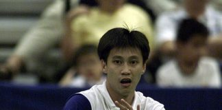 Indra Wijaya represents Singapore during the 2001 Asia Cup Badminton Championship at the Singapore Indoor Stadium.