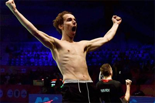 Mathias Boe and Vladimir Ivanov were ecstatic after their victory on Friday. (photo: PTI)