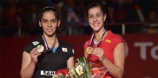Saina Nehwal (left) and Carolina Marin make a great rivalry in women's singles.