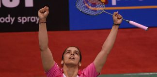 It was a combination of joy and relief for Saina Nehwal after she beat Sung Ji Hyun at the 2016 India Open badminton tournament in New Delhi. (photo: AFP/Prakash Singh)