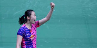 China's Li Xuerui celebrates after victory in her women's singles semi-final match against India's Saina Nehwal at the 2016 India Open. (photo: GettyImages)