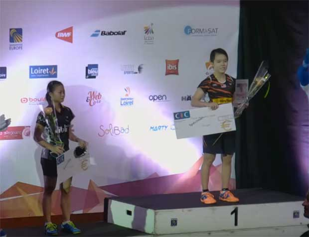 Goh Jin Wei on the podium at the Orleans International.