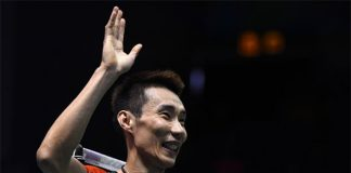 Lee Chong Wei of Malaysia celebrates after defeating Chou Tien Chen of Taiwan the Thomas Cup quarter-final tie. (photo: AFP)