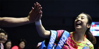 Wang Shixian of China celebrates her victory against Pusarla V Sindhu of India in the Uber Cup semi-final. (photo:AFP)