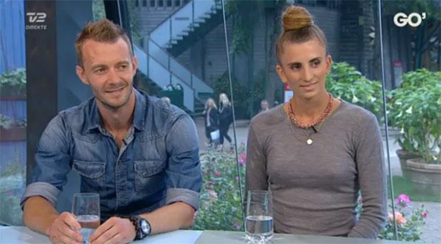 Carsten Mogensen and his girlfriend Mie Skov during the interview. (photo: TV2, Go' aften Danmark)